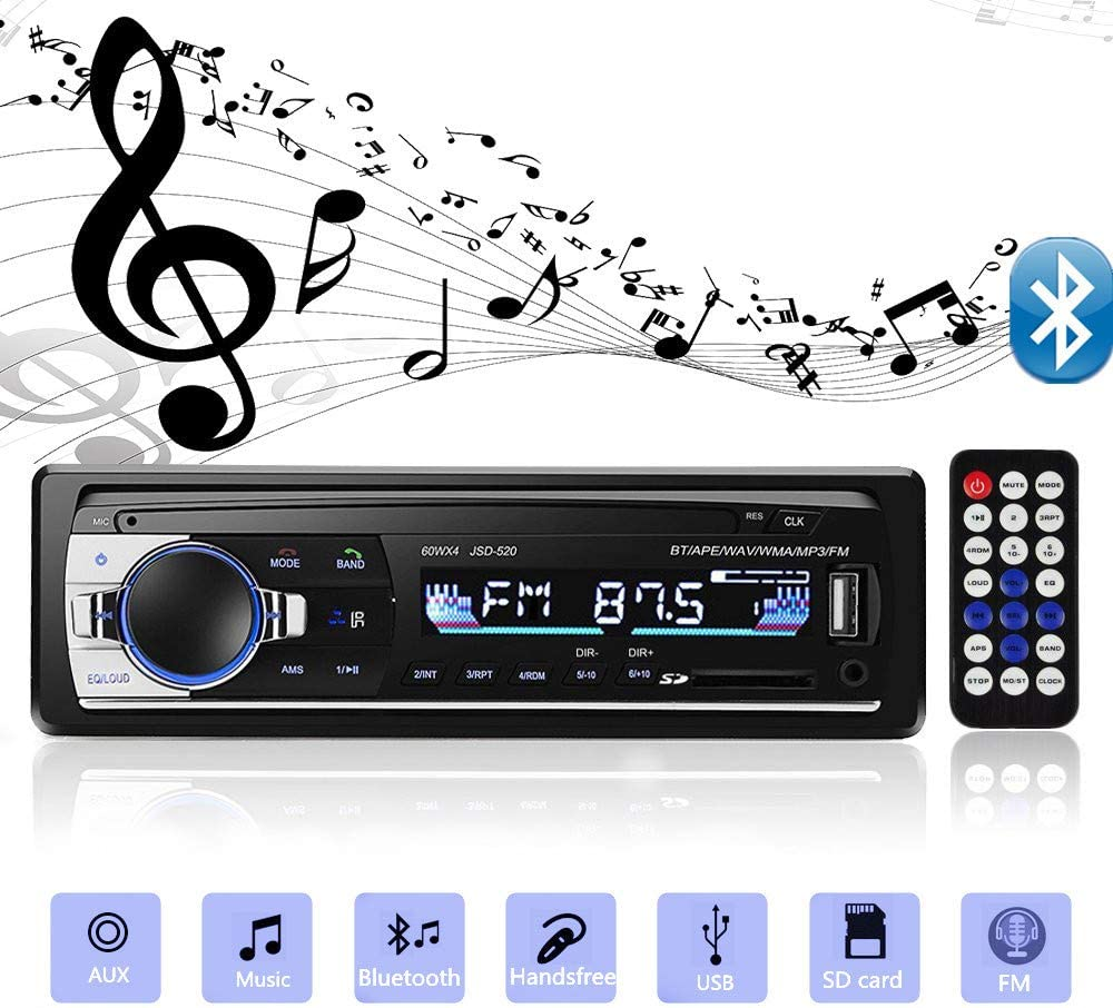 Aigoss Bluetooth Car Stereo, 4x60W Car Audio FM Radio, MP3 Player USB/SD/AUX Hands Free Calling with Wireless Remote Control