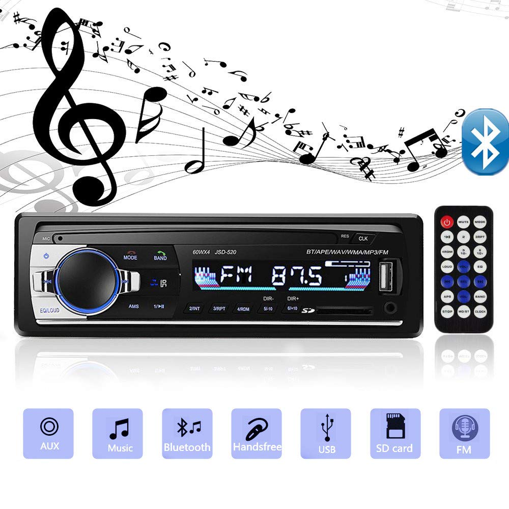 Aigoss Bluetooth Car Stereo, 4x60W Car Audio FM Radio, MP3 Player USB/SD/AUX Hands Free Calling with Wireless Remote Control by Aigoss