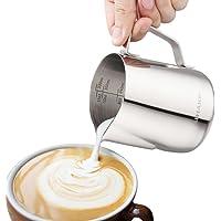 ALHAKIN Mousseur à lait en acier inoxydable Pot à lait lait pichet Faire mousser le lait