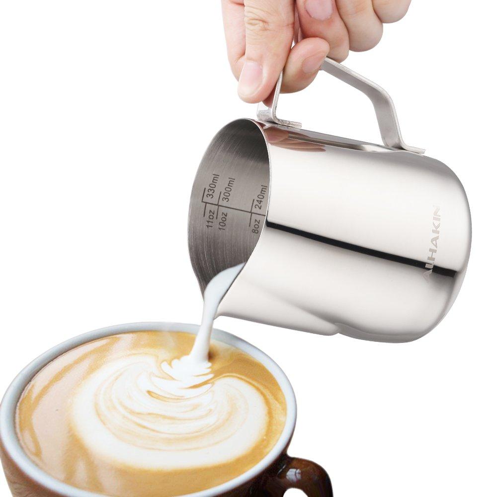 ALHAKIN Mousseur à lait en acier inoxydable Pot à lait lait pichet Faire mousser le lait - 350 ml NB350A