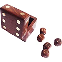WoodGraphs Handmade Wooden Dice Game Set Dice Design | Premium Quality Handicrafts | (Brown, 2.5x2.5x2.5 Inches)