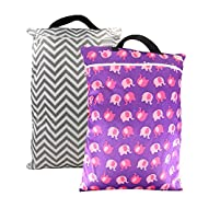 OHBABYKA Washable Large Wet Dry Hanging Stroller Pockets Pail Bag for Baby Cloth Diapers