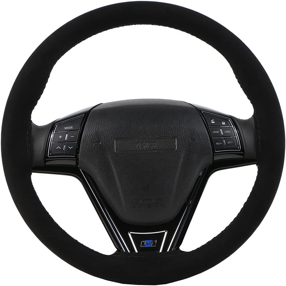 15 Inch Universal Car Steering Wheel Cover DIY Wear-Resistant Soft Microfiber Leather Stitching Suede Auto Steering Wheel Wrap with Needles Thread Purple