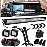 QUAKEWORLD DOT Approved 52 Inch 300W Offroad LED Light Bar + 4 Inch 18W Driving Fog Lights W/Rocker Switch DT Connector Wiring Harness Fit 2007-2017 Jeep Wrangler JK JKU