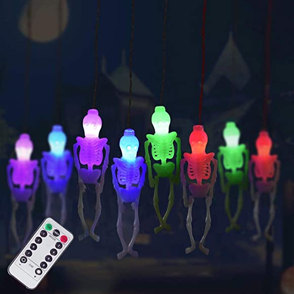 Halloween Skeleton Skull String Lights Battery Operated, Spooky Halloween Decoration Waterproof 15LED String Lights with 8-Lighting Modes for Indoor Outdoor, Home, Party, Yard Decor 2, Multi