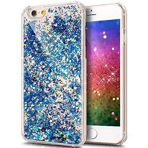 iPhone 7 Plus Case,ikasus iPhone 7 Plus [Liquid Glitter] Case,[Blue] Crystal Clear Hard PC Quicksand (Foglia Telefono)