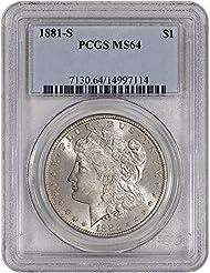 1881 S US Morgan Silver Dollar $1 MS64 PCGS
