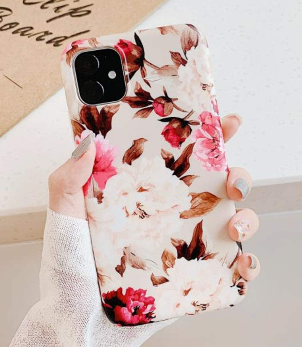 iPhone 11 Pro Max Silicone Flower Case,Lozeguyc iPhone 11 Pro Max Women Girl Cute Fashion Cover Soft Retro Vintage Pretty Floral Elegant Case for iPhone 11 Pro Max 6.5 Inch-Purple