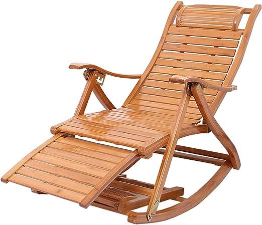LHNLY-Tumbonas Silla Mecedora para jardín Patio, Sala de Estar, balcón, Exterior o Interior, Silla de Cubierta Plegable, reclinable reclinable, MAX.150 kg: Amazon.es: Hogar