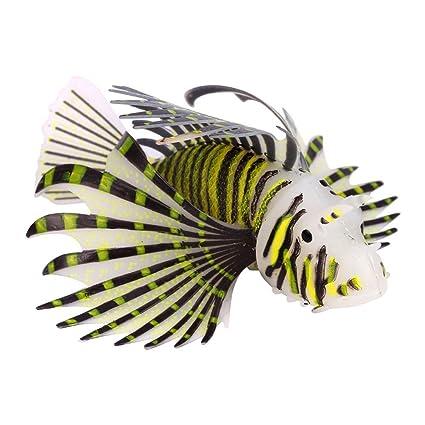 Pez Leon artificial para decoracion de acuario o pecera de 5 cm color negro