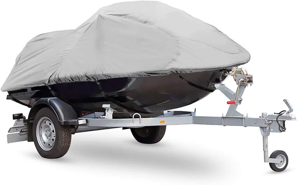 "Pyle Heavy Duty Boat Cover - 127"" to 138"" Universal Marine Grade Storage Cover w/ Rear Air Vents, Waterproof Fabric & Elastic Cord - Protection Against Rain, Mildew & UV Damage - PCVJS13"
