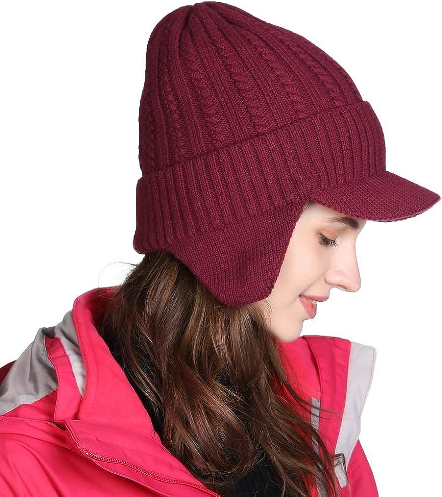 Fancet Damen Wollmischung Winterm/ütze Strickm/ütze mit Ohrenschutz Beanie
