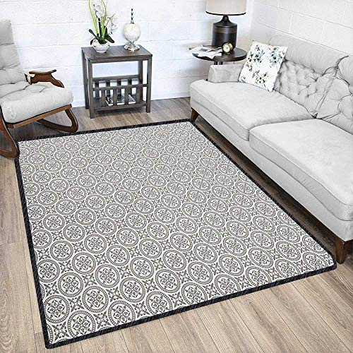 Grey and White Colorful Area Rug,Middle Eastern Mosaic Antique Pattern Victorian Baroque Damask Influences with No-Slip pad Grey White 67