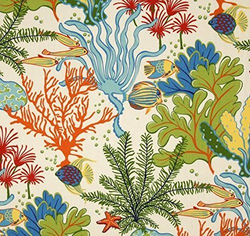 Ocean Fish Fabric - Indoor / Outdoor Fabric by the Yard - Swavelle / Mill Creek Splish Splash Atlantis - Tropical Fish / Coral Reef - Orange, Green, Blue, Yellow