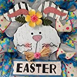 Adorable-White-Bunny-with-Easter-Sign-Deco-Mesh-Wreath