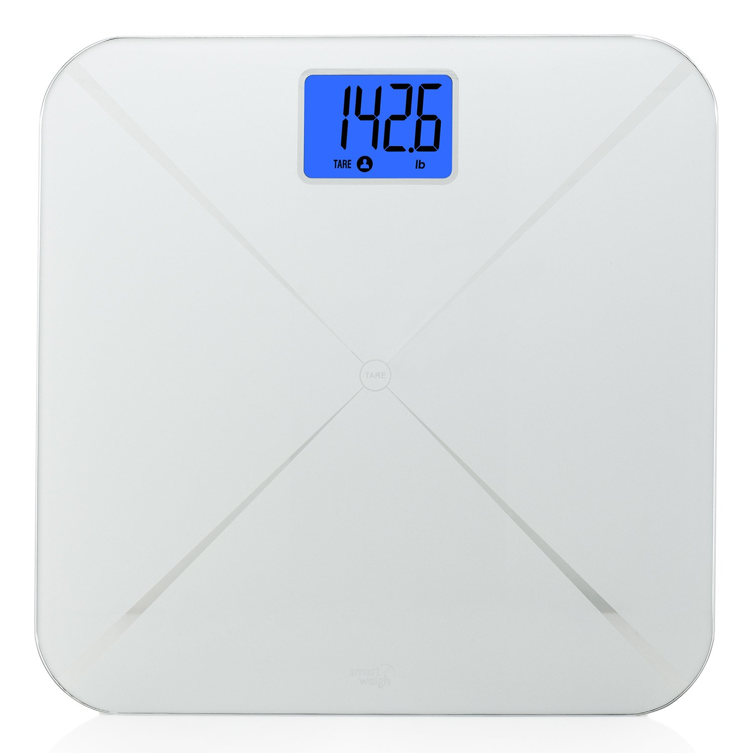 Smart Weigh Smart Digital Body Weight Bathroom Scale with Baby or Pet Tare Weighing Technology, Large LCD Display and Tempered Glass Platform, 440lbs/200kg Capacity (Silver) 4332443291