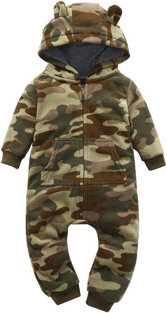 UK Newborn Infant Baby Boy Camouflage Romper Bodysuit Pants Hat Outfits Suit