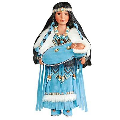 Collections Etc Beautiful Porcelain Native American Mother Doll with Baby Papoose - 16 in Tall: Toys & Games