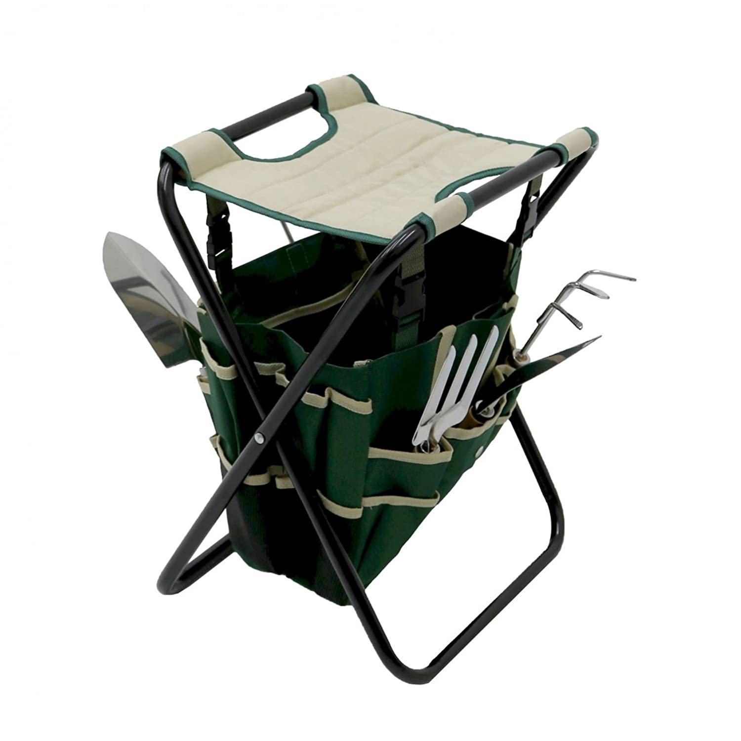 Oypla Folding Gardeners Tool Stool with 5pc Tools and Storage Bag 3857A2P