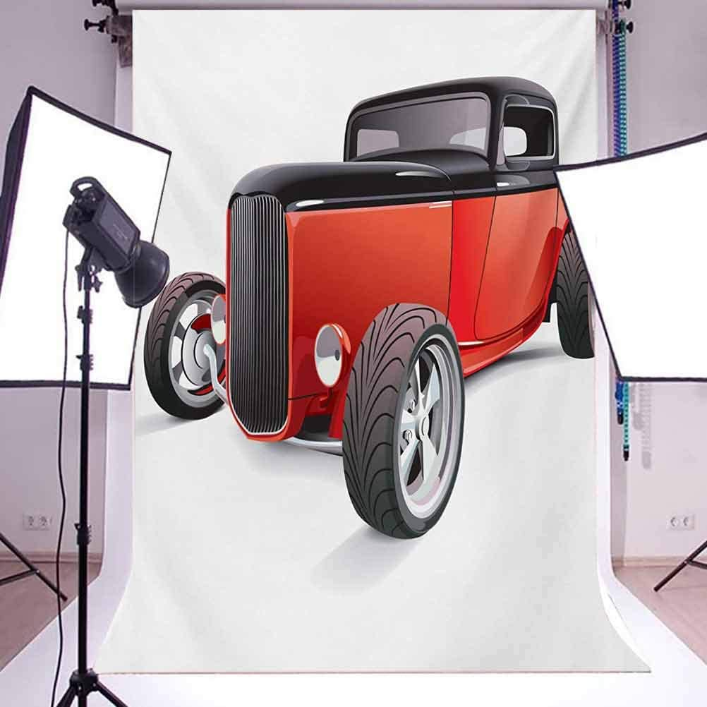 Cars 10x15 FT Backdrop Photographers,Nostalgia Red Hot Rod American Culture Retro Revival Classics Collectors Car Background for Child Baby Shower Photo Vinyl Studio Prop Photobooth Photoshoot