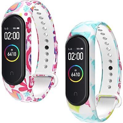 WD&CD 2 Pack Correa de Silicona Negra Compatible con Xiaomi Mi Band 3/4 Correa de Reloj, Muñequera Ajustable Banda de Reloj para Xiaomi Mi Band 3/4