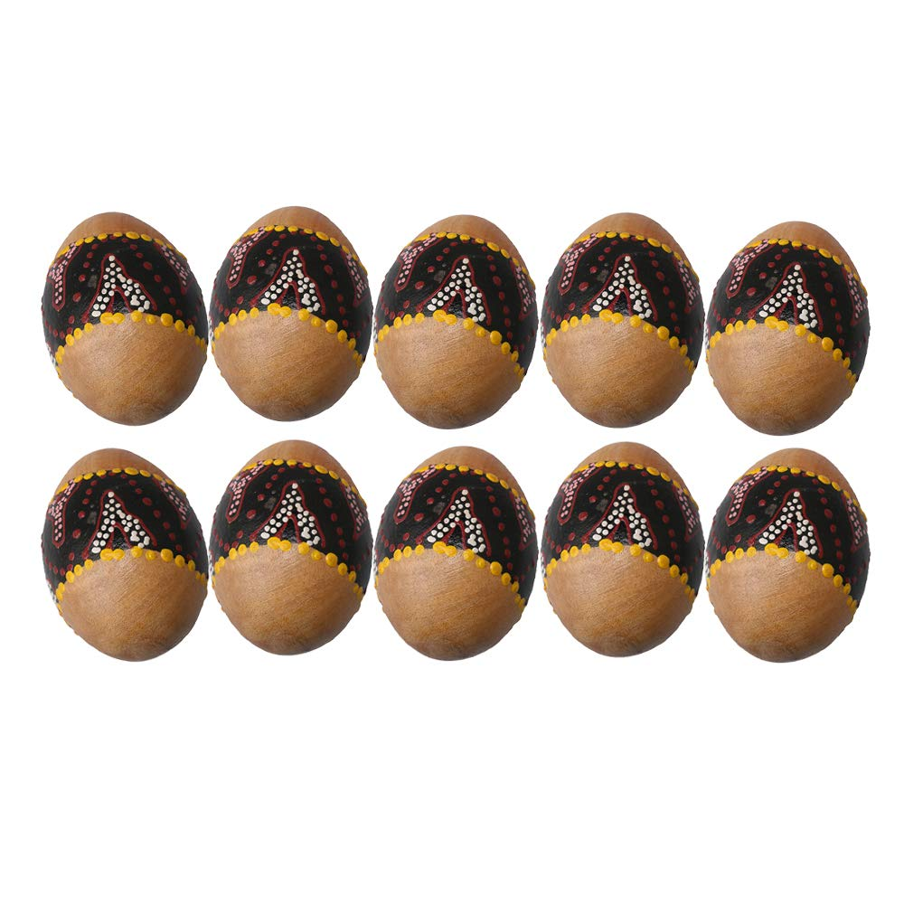 Lovermusic 68x47mm Wooden Painted Percussion Sand Egg Shakers Musical Toy Pack of 10