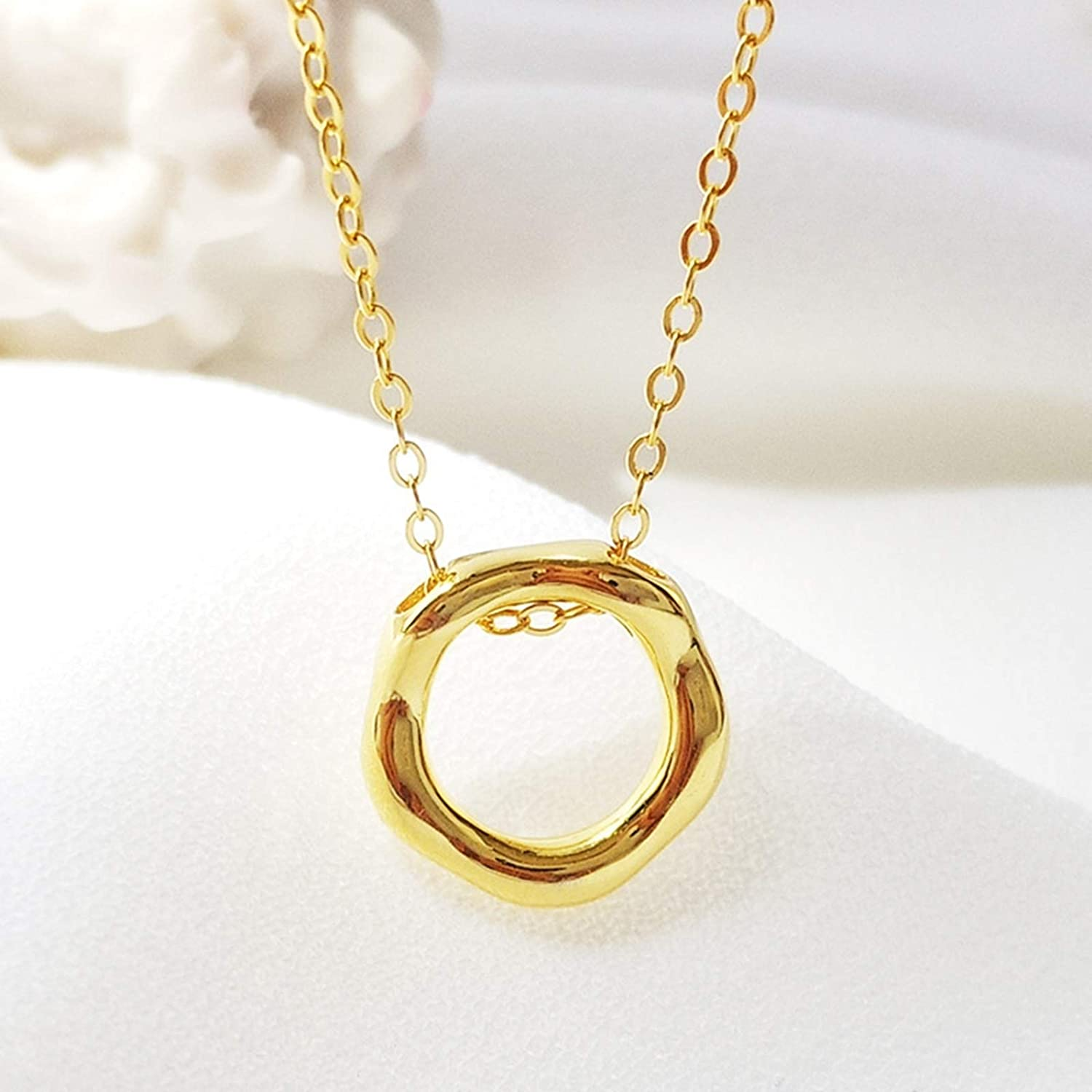 Aokarry Womens S925 Sterling Silver Necklace Hollow Circle Pendant Necklaces for Women Gold