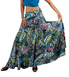Tropic Bliss Women's Wide Leg Cotton Palazzo Pants, Elastic Waist, Black and Yellow by, S
