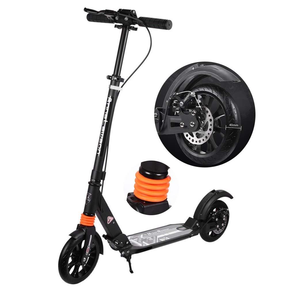 キックスクーター ディスクブレーキが付いている折り畳み式の軽量の大人の蹴りのスクーター、40mmの大きい車輪が付いているアルミ合金の通勤のスクーター、非電気、サポート100kg (色 : ブラック) ブラック