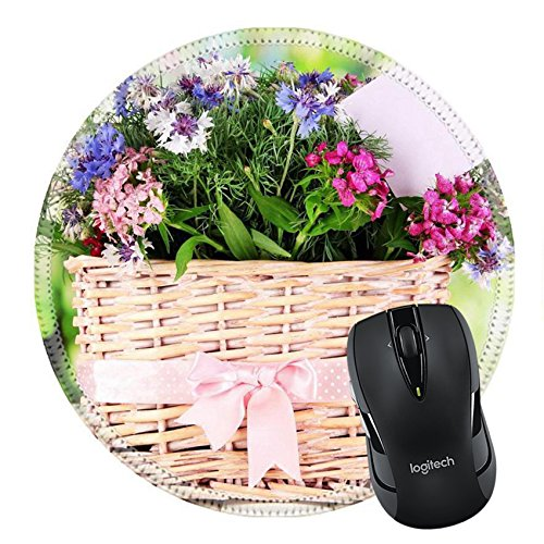 MSD Mousepad Round Mouse Pad/Mat 20507274 Beautiful bouquet in basket on wooden table on natural background