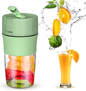 Portable Blender Rechargeable - CIYOYO Personal Size Blender Milk Shakes and Smoothies Fruit Juice USB One-handed Drinking Mini Juicer Cup Home Office Sports Travel Outdoors, BPA-free