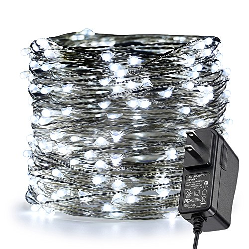 (ER CHEN Fairy Lights Plug In, 99Ft/30M 300 LED Silver Coated Copper Wire Starry String Lights Outdoor/Indoor Decorative Lights for Bedroom, Patio, Garden, Party, Christmas Tree)