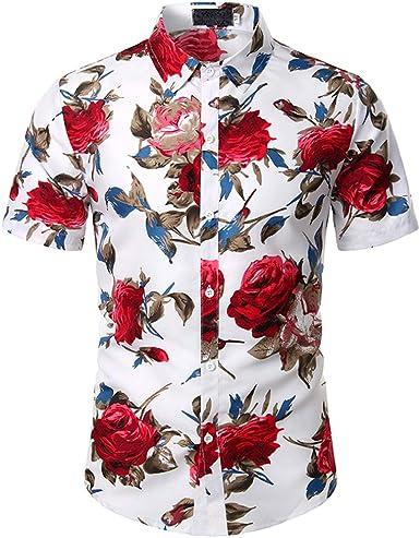 Camisa para Hombre,Camisa Hawaiana Enrrollada Hombres Manga ...