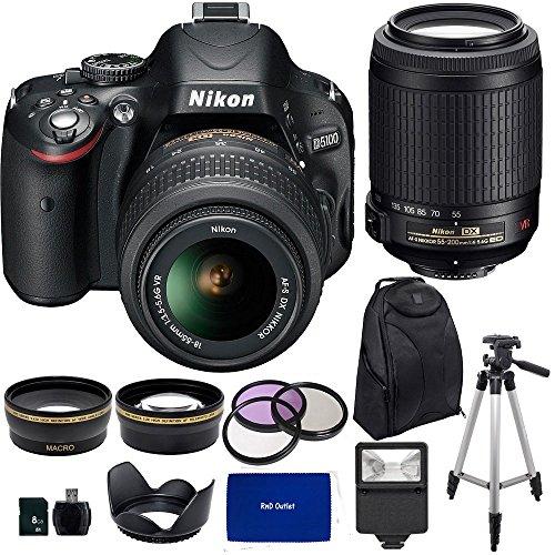 Nikon D5100 Digital SLR Camera with Nikon 18-55mm VR Lens And Nikon 55-200mm VR Lens + .43x Wide Angle Lens, 2.2x Teleph by RnD Outlet