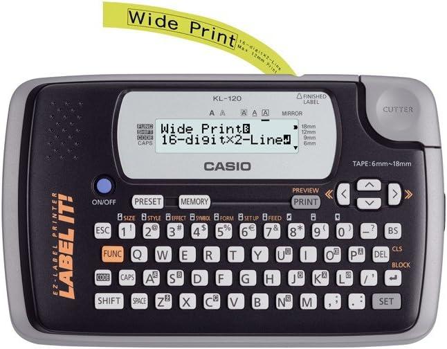 Schriftband-Kassette f/ür KL60 Beschriftungsband f/ür Casio KL 60 Farbband 12mm Schwarz auf Farblos-Transparent 12 mm