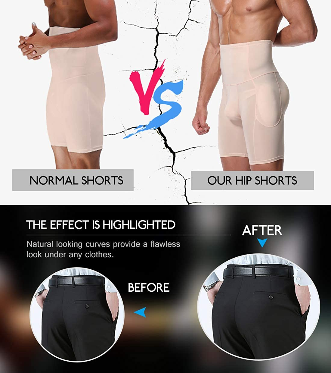 DoLoveY Men Butt Lifter Shapewear Butt Shaper Boxer Padded Enhancing Underwear Tummy Control