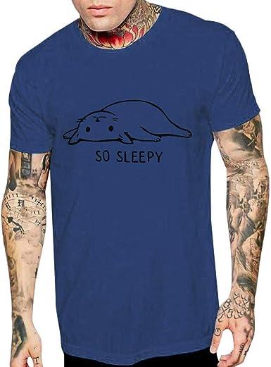 Mens Comic Signature Lazy Cat Print Cartoon T-Shirt Cute Stay Tuck Crew Neck Short Sleeve Tank Tops White Tee for Men