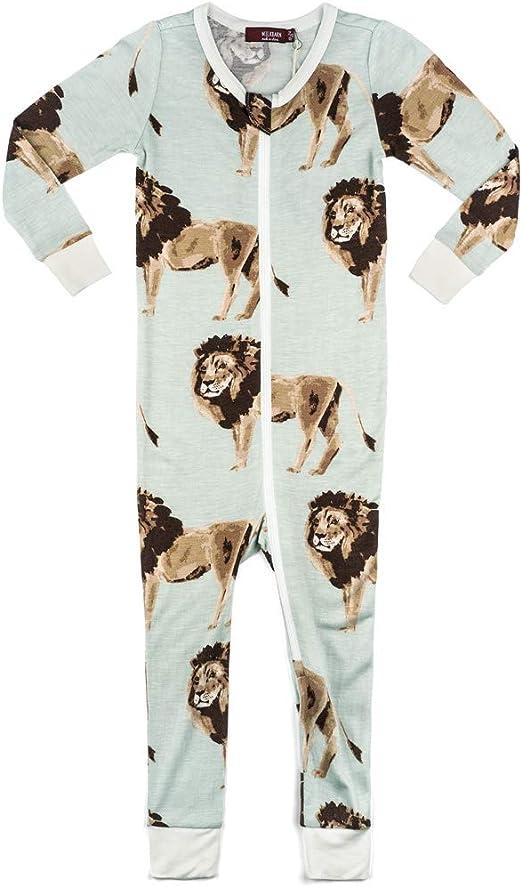 MilkBarn Bamboo Zip Pajamas Blue Moose