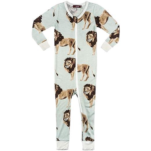 a6ef254f2 Amazon.com  MilkBarn Bamboo Zipper Pajama - Lion  Clothing