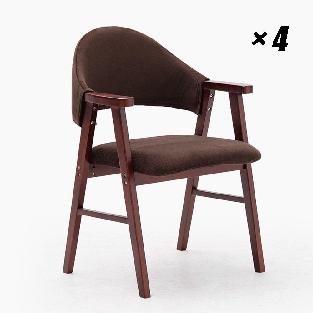 現代の木製オフィスチェアカフェラウンジチェアシンプルなダイニングシート家庭用、キッチン、会議用57×58.5×81.5cm (色 : Brown, サイズ さいず : Set of 4) B07F5N1FF4 Set of 4|Brown Brown Set of 4