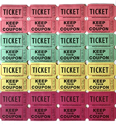 500 Colored Raffle Tickets Four Colors 4 x 125 Double Roll 50/50 Carnival Fair Split the Pot Fundraiser Festival Event Party Door Prize Drawing Perforated Stubs Pink Neon Yellow Green (Baskets For Fundraisers)