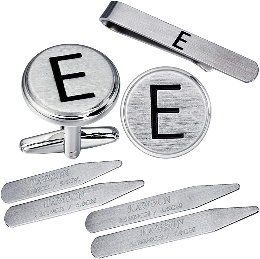 HAWSON 16 pcs Men's Stainless-Steel A-Z Cufflinks, Tie Clips Sets, Collar Stays for Tuxedo Shirts in a Gift Box - 4 Sizes