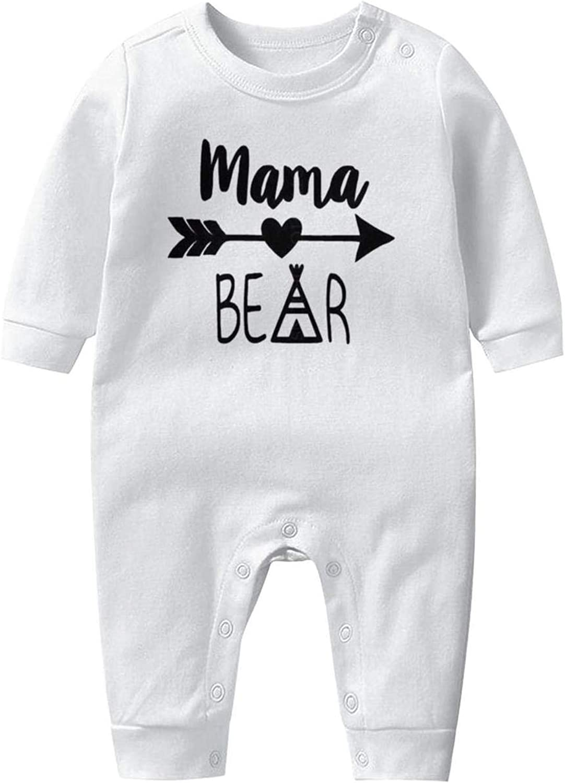 Mama Bear Decal Perfect Newborn Crawling Suit Lone-Sleeved Romper Bodysuit