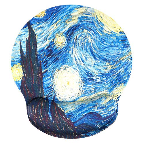 Ergonomic Mouse Pad with Gel Wrist Rest Support, iLeadon Non-Slip Rubber Base Wrist Rest Pad for Home, Office Easy Typing & Pain Relief, Starry Sky