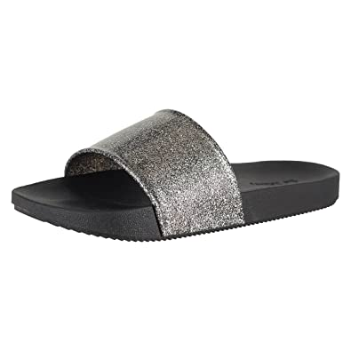 0639026ba549 Zaxy Snap Glitter Glitter Black Womens Slide Size 5M