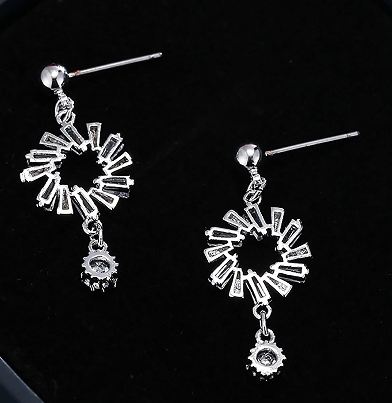 Platinum Plated Cubic Zirconia Dangle Earrings with Hoop and Crystal Drop