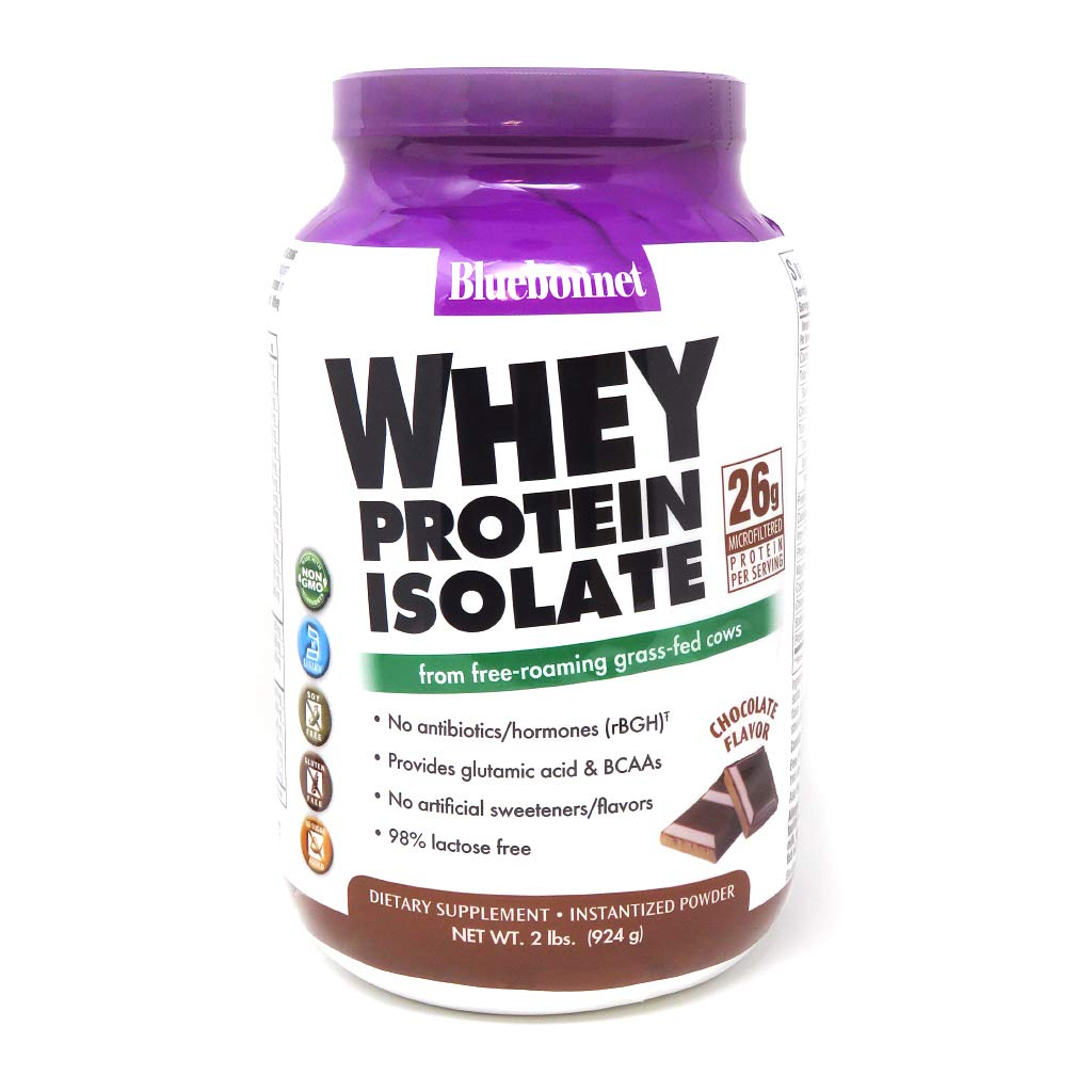 Bluebonnet Nutrition Whey Protein Isolate Powder, Whey From Grass Fed Cows, 26g of Protein, No Sugar Added, Non GMO, Gluten Free, Soy free, kosher Dairy, 2 Lbs, 28 Servings, Chocolate Flavor by Bluebonnet