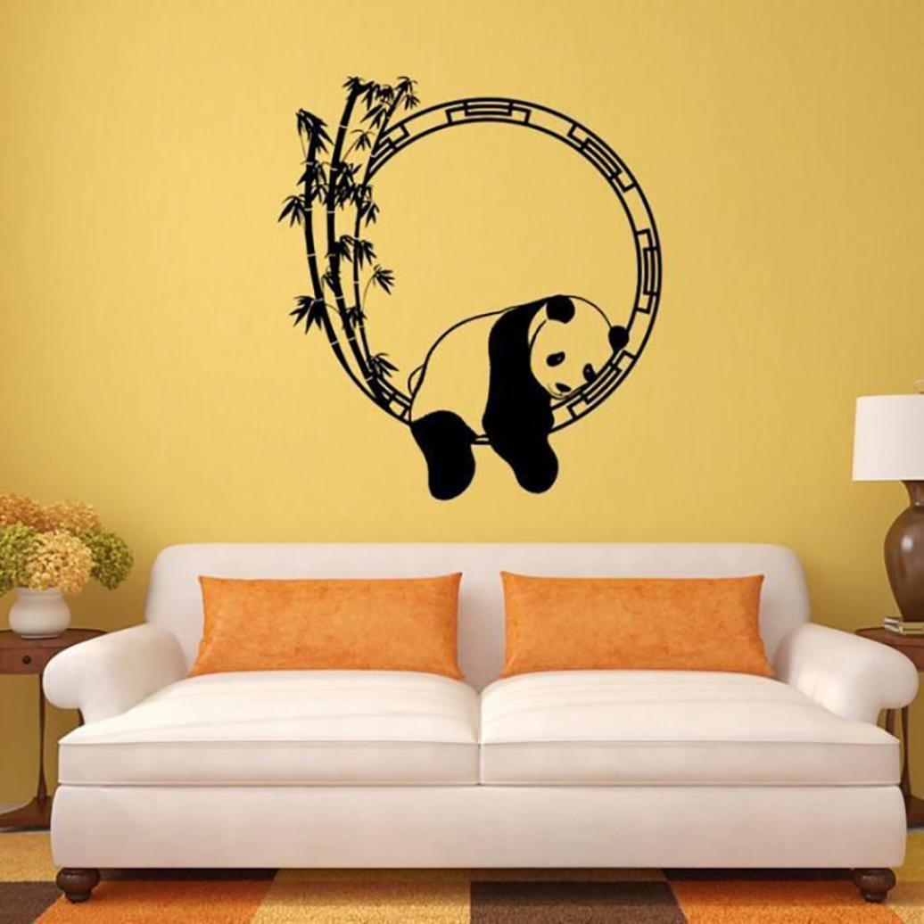 ALIKEEY 57 63CM❤️Autocollant mural Panda D/écalcomanies murales amovibles D/écors de salon Art mural en bambou Panda Stickers Arbre Cadre Photo Muraux Salon Arbre Sticker Mural 3D Stickers Muraux TV