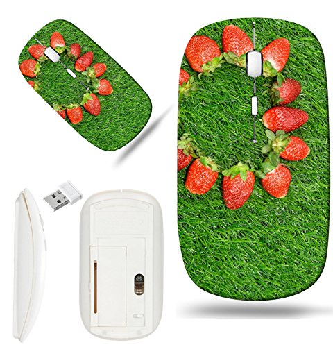 Luxlady Wireless Mouse White Base Travel 2.4G Wireless Mice with USB Receiver, 1000 DPI for notebook, pc, laptop, macdesign IMAGE ID: 24373363 Heart shaped Strawberry on green grass