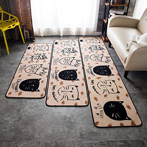 SE7VEN Cartoon creative mat Household Kitchen Bedroom Mats beside the bed Rectangular door mat Single piece sale-A ()